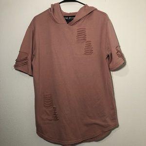 Five by five men's hooded short sleeve pink medium